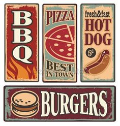 Vintage fast food tin signs Retro metal signs collection with pizza, burger, hot dog and barbecue Delicious food backgrounds and poster design templates