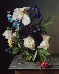 Sharon Core painstakingly recreates historical canvases of floral arrangements for her detailed, evocative photos.
