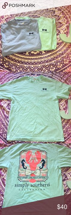 Simply Southern Lot 2 Blue Teal T Shirts Simply Southern Collection Women's T Shirts. Lot 2. Light blue + Periwinkle. Size medium. ***Size tag cut from one shirt*** Simply Southern Tops Tees - Short Sleeve