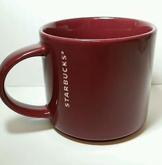 Starbucks 2013 14 fl oz Maroon Brick Red Burgundy Stackable Coffee Tea Cup Mug