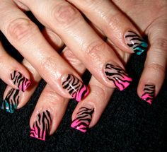Party Rock inspired hand-painted Zebra print nails!