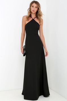 Tour de Force Black Maxi Dress at Lulus.com for $68!  Adjustable spaghetti straps rise from darted halter bodice and can be worn crossed or straight at back.