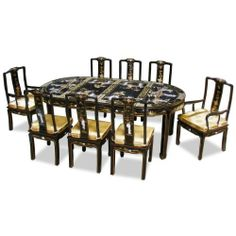 "84in Oval Dining Table with 8 Chairs - Black Lacquer Pearl Design by ChinaFurnitureOnline. $2690.00. Hand-inlaid mother of pearl maiden figures with hand-painted gold trim. 6 side chairs, 2 arm chairs; 4-piece glass top included. Dimensions: 84""W x 44""D x 31""H. Hand-applied shiny black lacquer finish. The grandiose of this dining set catches the eye of anyone upon his/her first encounter. Made of wood and superbly hand applied with shiny black lacquer, the table and its ..."