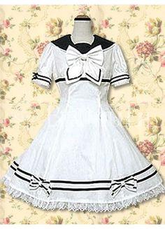 $137.49  Cotton White Lace Bow School Loltia Dress  #School #Loltia #Dress
