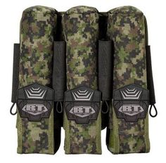 BT Paintball Molle Pod Pouch 3+4 Woodland Digi Camo by BT. $19.95. Description This is a modular Molle 3+4 pouch. The pouch has 3 strapped-in pods and four elastic straps. Features Has additional molle on the out side to attach more pod pouches on top of it!  Molle straps with snaps and Velcro for stability  Plastic insert inside pod closures add structure and quick access to pods  Custom BT micro injected TPR pull tabs for easy access to the tubes  Holds up to 7 pods!