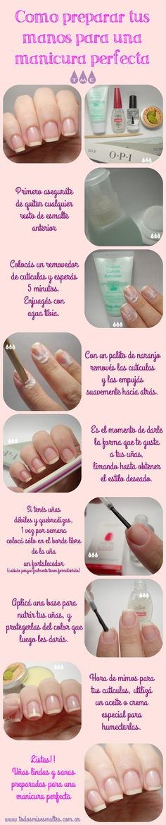 Pasos para una manicura perfecta | Todos mis esmaltes Hair And Nails, My Nails, Beauty Nails, Hair Beauty, Face Care Tips, Manicure Y Pedicure, Nails At Home, Hand Care, Body Treatments