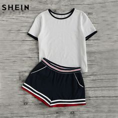 Cheap shorts set, Buy Quality two set directly from China striped set Suppliers: SHEIN Casual Women Two Piece Outfits Summer Short Sleeve Round Neck Ringer Tee and Striped Waist Binding Shorts Set Two Piece Outfits Shorts, Pyjama Sexy, Summer Outfits, Cute Outfits, Teen Girl Gifts, Cute Pajamas, Gym Shorts Womens, Fashion Outfits, Clothes For Women