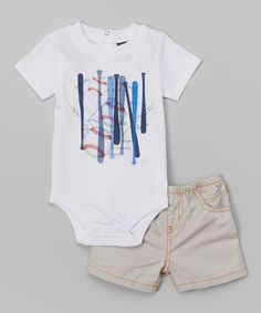 Look at this Charlie Rocket White Baseball Bodysuit & Stone Twill Shorts - Infant on #zulily today!