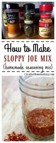 Homemade Sloppy Joe Mix Recipe Recipe for making a great homemade sloppy joe seasoning mix. Make a large quantity and store for later.<br> Recipe for making a great homemade sloppy joe seasoning mix. Make a large quantity and store for later. Homemade Sloppy Joe Mix, Homemade Dry Mixes, Homemade Spices, Homemade Seasonings, Homemade Recipe, Homemade Food, Sloppy Joes Recipe, Sloppy Joe Seasoning Recipe, Sodium Free Taco Seasoning Recipe