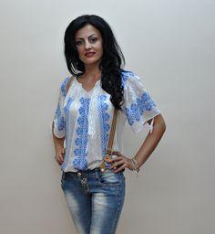 Romanian folk blouse, handmade 100% Traditional Fashion, Folk, Kimono Top, Costume, Blouse, Handmade, Beautiful, Women, Style