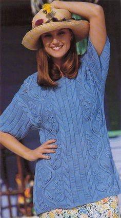 Голубой вязаный пуловер с листьями вьюнка | Шкатулочка для рукодельниц