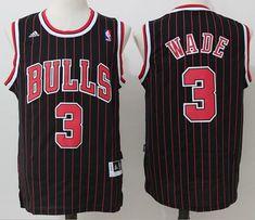NBA Chicago Bulls #3 Dwyane Wade Black Throwback Jersey Jersey