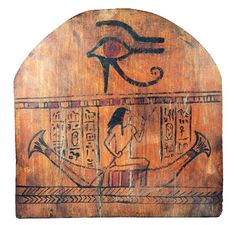 Ancient Egypt. Wooden, arch-shaped panel, part of a sarcophagus, depicting an Egyptian figure rowing a boat, with five rows ...