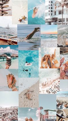 Beach aesthetic collage wallpaper - blue