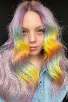 Shot Hair Styles, Curly Hair Styles, Coloured Hair Spray, Colored Hair Styles, Two Color Hair, Unicorn Hair Color, Opal Hair, Temporary Hair Dye, Barbie Hair