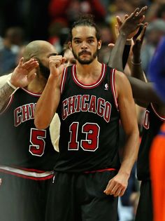 CHICAGO, IL - OCTOBER Joakim Noah of the Chicago Bulls celebrates a win over the New York Knicks at the United Center on October 2013 in Chicago, Illinois. The Bulls defeated the Knicks Team Player, Nba Players, Nba Chicago Bulls, Chicago Illinois, Joakim Noah, Bull Logo, United Center, New York Knicks, Basketball Jersey