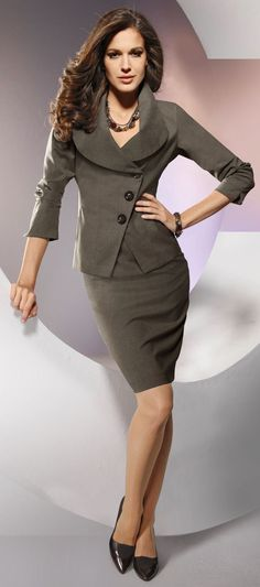 Taupe Skirt Suit and Black High Heels