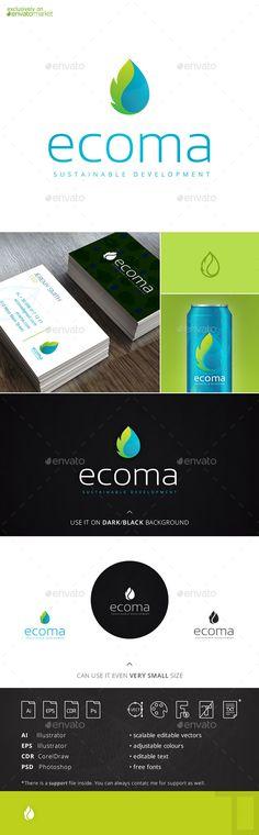 Ecoma Drop Leaf Logo Template