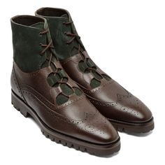 Brown Grainy Leather & Loden Suede Wingtip Ghillie Boot