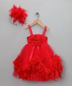 Red Feather Tutu Dress & Headband - Infant, Toddler & Girls