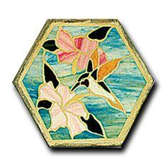 "Mosaic Patterns : Mosaic Pattern - 16"" Hex - Hummingbird & Hibiscus"