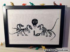 PATTERN velociraptors and cat counted cross stitch dino dinosaur skeleton fossil cute kawaii