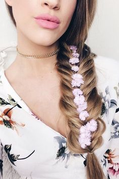Add some flowers down the middle of your fishtail braid for a beautiful twist @karindragos wears her 220g Dirty Blonde @luxyhair extensions for gorgeous volume and length in her braid Shop link in bio xo