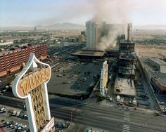 MGM Grand on fire, November 21, 1980 as seen from a room at the Dunes Hotel