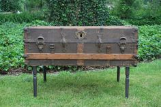 repurposed trunk. coffee table with storage and style!