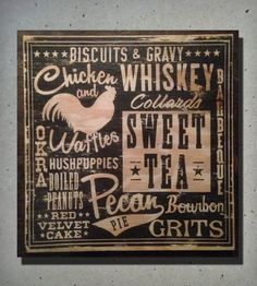 Southern Cuisine Wood Sign | Gifts Local Pride | Old Dirty Type | Scoutmob Shoppe | Product Detail
