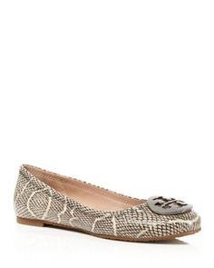 NIB Tory Burch Reva Ballet Flats Shoes Cobra-Embossed Black Natural 7.5 M #ToryBurch #BalletFlats