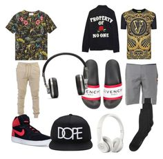 """Anthony and Joe's outfits ( they were made by a 4 and 5 year old so don't judge 😂😂)"" by mollie-porter on Polyvore featuring Versace, Gucci, Hurley, Givenchy, Calvin Klein, Beats by Dr. Dre, Balmain, NIKE, Forever 21 and Master & Dynamic"