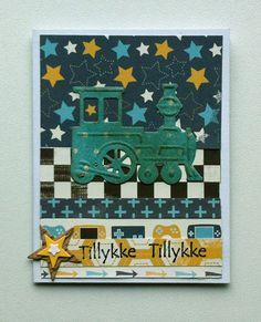 Tag small card - kid birthday card with train - Marianne design train die LR0308  - til og fra kort fødselsdag - Carta Bella: Boy oh Boy - paper pad - JKE