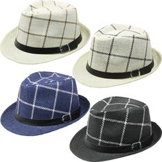 c4ee533bf2e assorted colors checkered straw fedora hats Case of 72