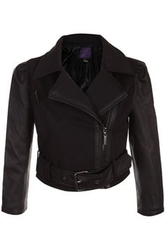 #Romwe Vinyl Splicing Puff Sleeve Black Coat