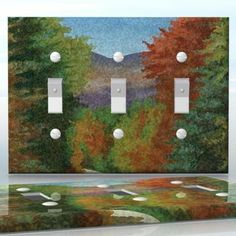 DIY Do It Yourself Home Decor - Easy to apply wall plate wraps   Another Autumn Day  Colorful October trees  wallplate skin sticker for 3 Gang Toggle LightSwitch   On SALE now only $5.95