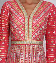 Pink Georgette Anarkali with Gota Work Indian Suits, Indian Attire, Indian Wear, Pakistani Couture, Pakistani Dresses, Beautiful Dress Designs, Go Pink, India Colors, Bridal And Formal