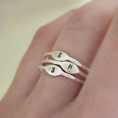 One Tiny Sterling Silver Letter Stacking Ring Personalized with Initial by esdesigns on Etsy https://www.etsy.com/listing/169603312/one-tiny-sterling-silver-letter-stacking