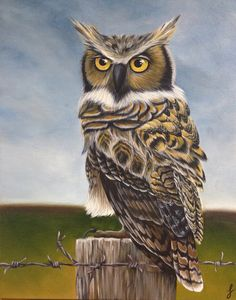 Great horned owl acrylic painting by Jennifer Noseworthy