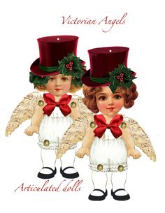 DIY paper ornaments Articulated Paper dolls steampunk angels  Decorate steampunk style with DIY ornaments articulated Paper dolls for the