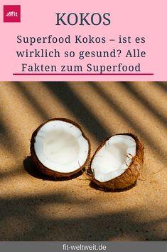 Superfood Kokos: Die Inhaltsstoffe und Nährwerte, Vitamine und wie du eine Kokosnuss öffnen kannst. Ist dKokos gesund oder ungesund? Wie du sie essen kannst mit passenden Rezepten... Die Verwendung von Kokosöl, #Kokos Rezepte und Brotaufstrich, Die Wirkung von Kokosöl, abnehmen mit Kokosöl, die Verwendung von #Kokosöl für die Haare. #Gesundheit #Superfood Juicy Fruit, Detox Drinks, Healthy Mind, Superfoods, Health And Wellness, Coconut, Nutrition, Chia Pudding, Tricks