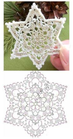 Crochet Ornament Patterns, Crochet Snowflake Pattern, Crochet Stars, Crochet Ornaments, Christmas Crochet Patterns, Crochet Snowflakes, Christmas Knitting, Crochet Crafts, Crochet Projects