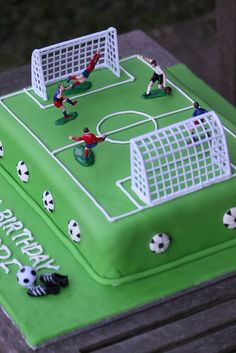 My daughter wanted a soccer cake for her birthday. Had so much fun creating this cake! Football Birthday Cake, 1st Birthday Cake For Girls, Soccer Birthday Parties, Soccer Party, Football Pitch Cake, Football Cakes For Boys, Soccer Cakes, Kids Football, Race Track Cake