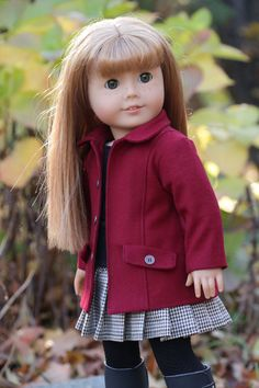 """American Girl Doll Clothes - Red """"Are We There Yet?""""  Car Coat fits 18 inch dolls"""