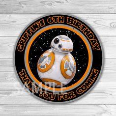 Star Wars Birthday Thank You Tags. Star Wars Thank You Stickers. Star Wars Birthday Party Favors. BB8 Thank You Tag.