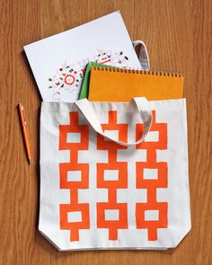 Today's guest blogger is Jessica Jones, the creative brains behind How About Orange, a truly awesome craft blog. She shared a tutorial for a trendy stenciled tote bag: