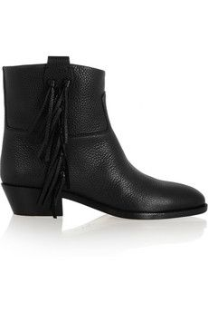 Valentino C-Rockee fringed leather ankle boots   NET-A-PORTER