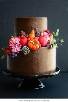 Chocolate Painted Cake   dramatically dark fall cake inspiration   by Erica OBrien for TheCakeBlog.com