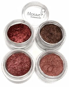 Plum Versatile Powder Pack comes with all of Monave's Plum shadow colors at 30% off! These powders can be used on the eyes, cheeks, lips, and nails for a matching makeup look!  all natural mineral makeup, gluten free, vegan, chemical free, bismuth free, talc free, curelty free, eco, soy free