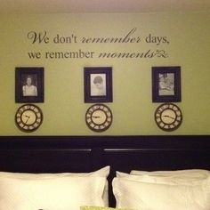 above bed decor | My wall above my bed with a clock stopped on the time my children were ...